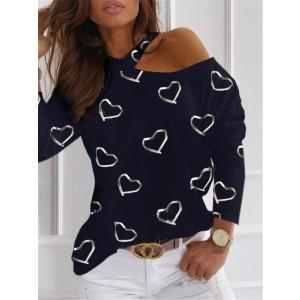 Women One Shoulder Casual T-shirt