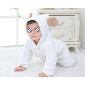 Baby Hooded Flannel Bear Romper